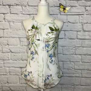 NWOT Le Chateau Floral Lace and Knit Halter Top